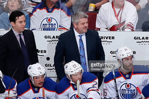 Head coach Todd McLellan of the Edmonton Oilers during the NHL game against the Arizona Coyotes at Gila River Arena on November 12 2015 in Glendale...