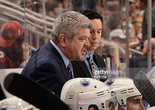 Head coach Todd McLellan of the Edmonton Oilers looks on from the bench against the Arizona Coyotes at Gila River Arena on January 12 2016 in...