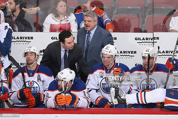 Head coach Todd McLellan of the Edmonton Oilers reacts on the bench during the first period of the NHL game against the Arizona Coyotes at Gila River...