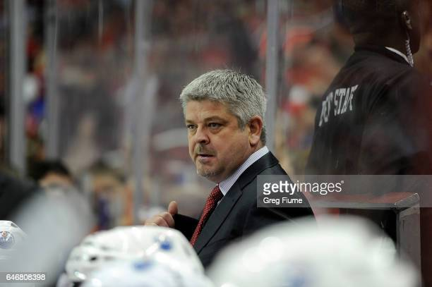 Head coach Todd McLellan of the Edmonton Oilers watches the game in the third period against the Washington Capitals at Verizon Center on February 24...