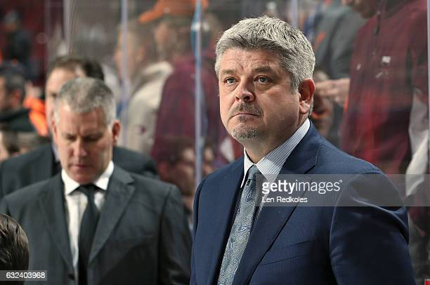 Head Coach Todd McLellan of the Edmonton Oilers watches the pregame warmups prior to playing the Philadelphia Flyers on December 8 2016 at the Wells...