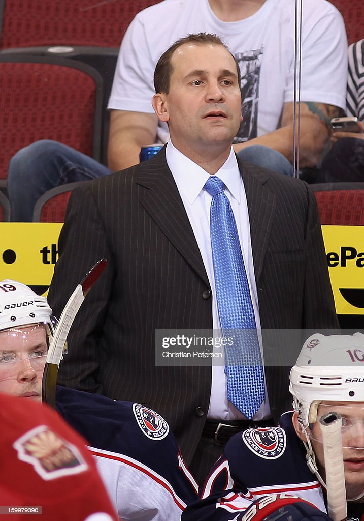Head coach Todd Richards of the Columbus Blue Jackets during the NHL game against the Phoenix Coyotes at Jobing.com Arena on January 23, 2013 in Glendale, Arizona. The Coyotes defeated the Blue Jackets 5-1.