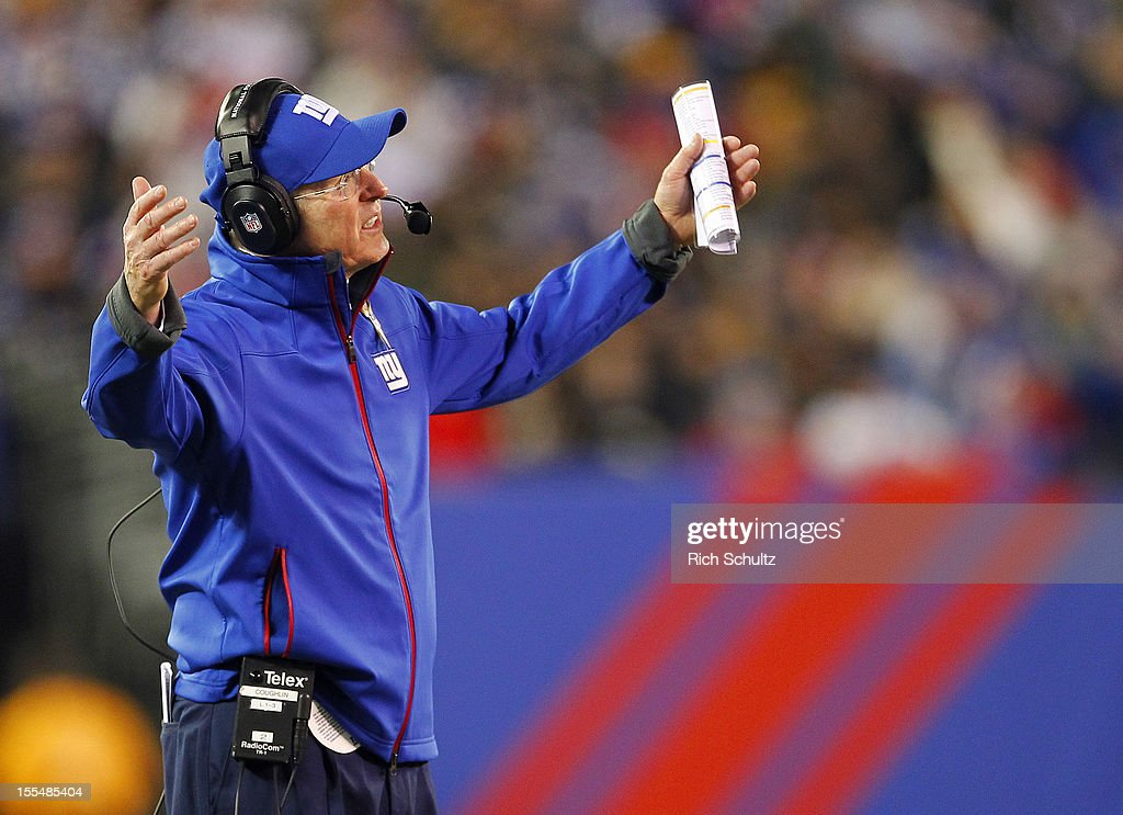 Head Coach Tom Coughlin of the New York Giants complains to an official during an NFL game against the Pittsburgh Steelers at MetLife Stadium on November 4, 2012 in East Rutherford, New Jersey. The Steelers defeated the Giants 24-20.