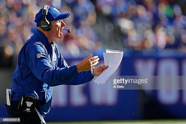 Head coach Tom Coughlin of the New York Giants complains to the officials against the Atlanta Falcons at MetLife Stadium on September 20 2015 in East...