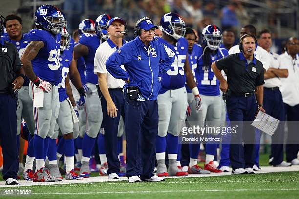 head coach Tom Coughlin of the New York Giants on the sidelines in the fourth quarter against the New York Giants at ATT Stadium on September 13 2015...