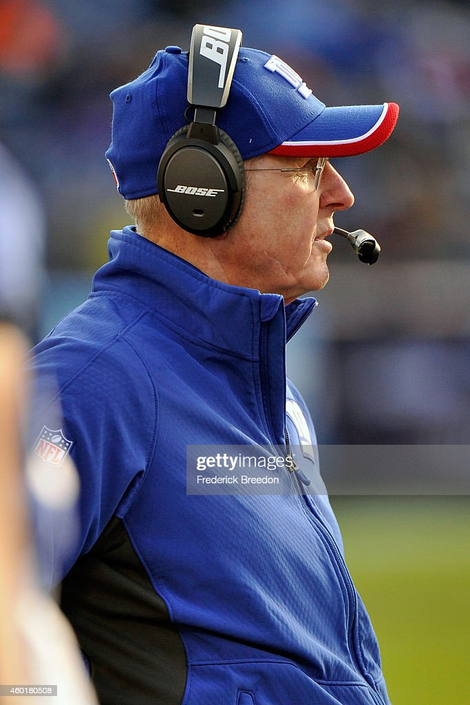 Head coach Tom Coughlin of the New York Giants watches from the sideline during the second half of a game at LP Field on December 7, 2014 in Nashville, Tennessee.