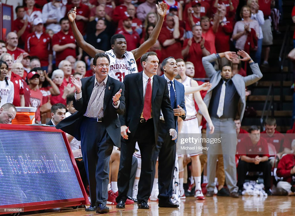 Head coach <a gi-track='captionPersonalityLinkClicked' href=/galleries/search?phrase=Tom+Crean+-+Basketball+Coach&family=editorial&specificpeople=10060688 ng-click='$event.stopPropagation()'>Tom Crean</a> of the Indiana Hoosiers and the bench react during the game against the Purdue Boilermakers at Assembly Hall on February 20, 2016 in Bloomington, Indiana.