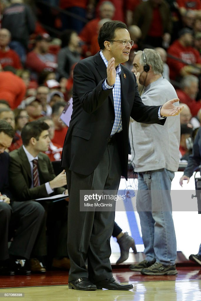Head Coach <a gi-track='captionPersonalityLinkClicked' href=/galleries/search?phrase=Tom+Crean+-+Basketball+Coach&family=editorial&specificpeople=10060688 ng-click='$event.stopPropagation()'>Tom Crean</a> of the Indiana Hoosiers celebrates on the sidelines during the game against Wisconsin Badgers at Kohl Center on January 26, 2016 in Madison, Wisconsin.