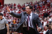 Head coach Tom Crean of the Indiana Hoosiers directs his team against the Wisconsin Badgers during the game at Assembly Hall on January 14 2014 in...