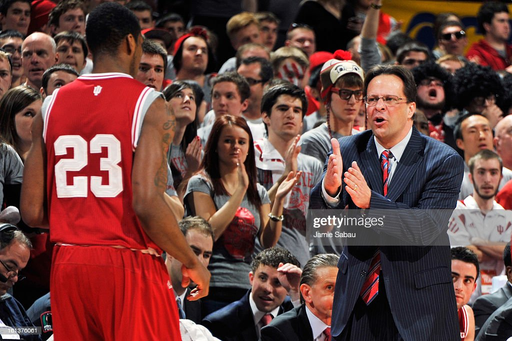 Head Coach Tom Crean of the Indiana Hoosiers gives instructions to Remy Abell #23 of the Indiana Hoosiers in the first half against the Ohio State Buckeyes on February 10, 2013 at Value City Arena in Columbus, Ohio.