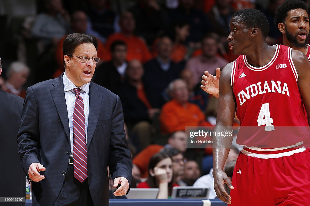 Head coach Tom Crean of the Indiana Hoosiers looks on against the Illinois Fighting Illini during the game at Assembly Hall on February 7, 2013 in Champaign, Illinois. Illinois defeated No. 1 ranked Indiana 74-72.