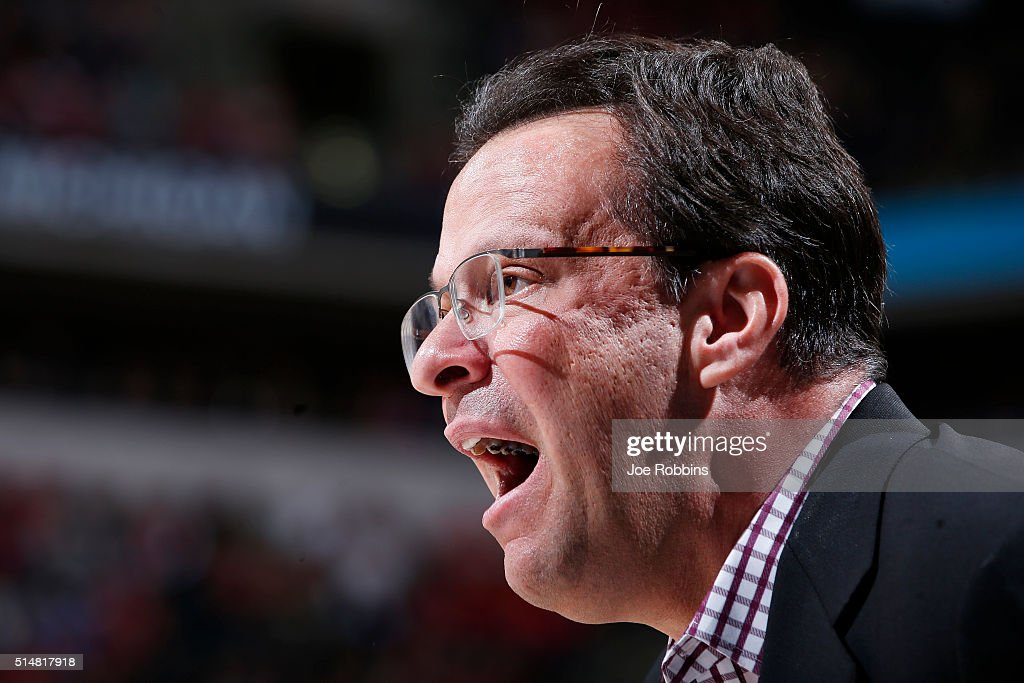 Head coach <a gi-track='captionPersonalityLinkClicked' href=/galleries/search?phrase=Tom+Crean+-+Basketball+Coach&family=editorial&specificpeople=10060688 ng-click='$event.stopPropagation()'>Tom Crean</a> of the Indiana Hoosiers reacts against the Michigan Wolverines in the quarterfinal round of the Big Ten Basketball Tournament at Bankers Life Fieldhouse on March 11, 2016 in Indianapolis, Indiana.