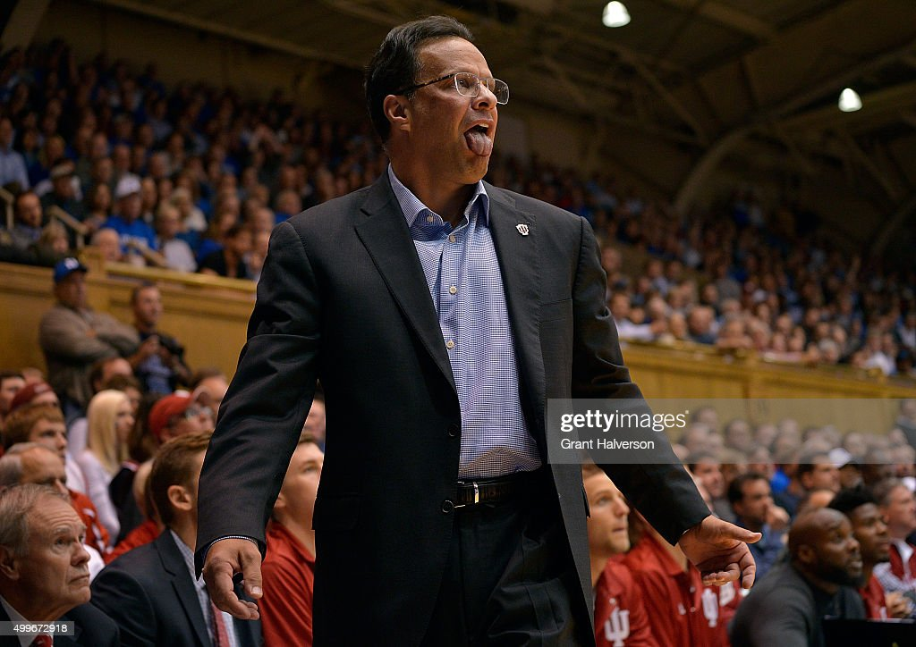 Head coach <a gi-track='captionPersonalityLinkClicked' href=/galleries/search?phrase=Tom+Crean+-+Basketball+Coach&family=editorial&specificpeople=10060688 ng-click='$event.stopPropagation()'>Tom Crean</a> of the Indiana Hoosiers reacts during a game against the Duke Blue Devils at Cameron Indoor Stadium on December 2, 2015 in Durham, North Carolina.