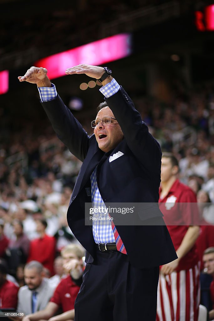 Head coach <a gi-track='captionPersonalityLinkClicked' href=/galleries/search?phrase=Tom+Crean+-+Basketball+Coach&family=editorial&specificpeople=10060688 ng-click='$event.stopPropagation()'>Tom Crean</a> of the Indiana Hoosiers reacts during the game against the Indiana Hoosiers at the Breslin Center on January 5, 2015 in East Lansing, Michigan.