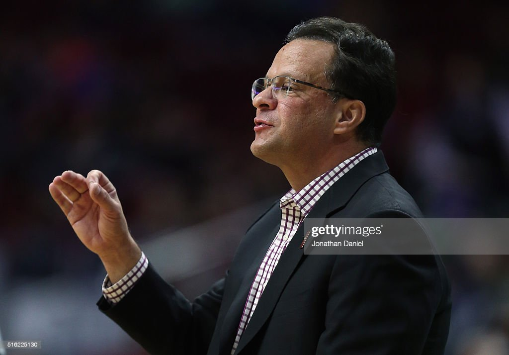 Head coach <a gi-track='captionPersonalityLinkClicked' href=/galleries/search?phrase=Tom+Crean+-+Basketball+Coach&family=editorial&specificpeople=10060688 ng-click='$event.stopPropagation()'>Tom Crean</a> of the Indiana Hoosiers reacts in the first half against the Chattanooga Mocs during the first round of the 2016 NCAA Men's Basketball Tournament at Wells Fargo Arena on March 17, 2016 in Des Moines, Iowa.