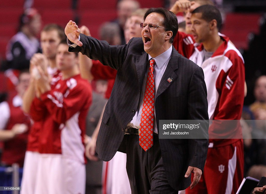 Head coach Tom Crean of the Indiana Hoosiers reacts in the second half while taking on New Mexico State Aggies in the second round of the 2012 NCAA men's basketball tournament at Rose Garden Arena on March 15, 2012 in Portland, Oregon.