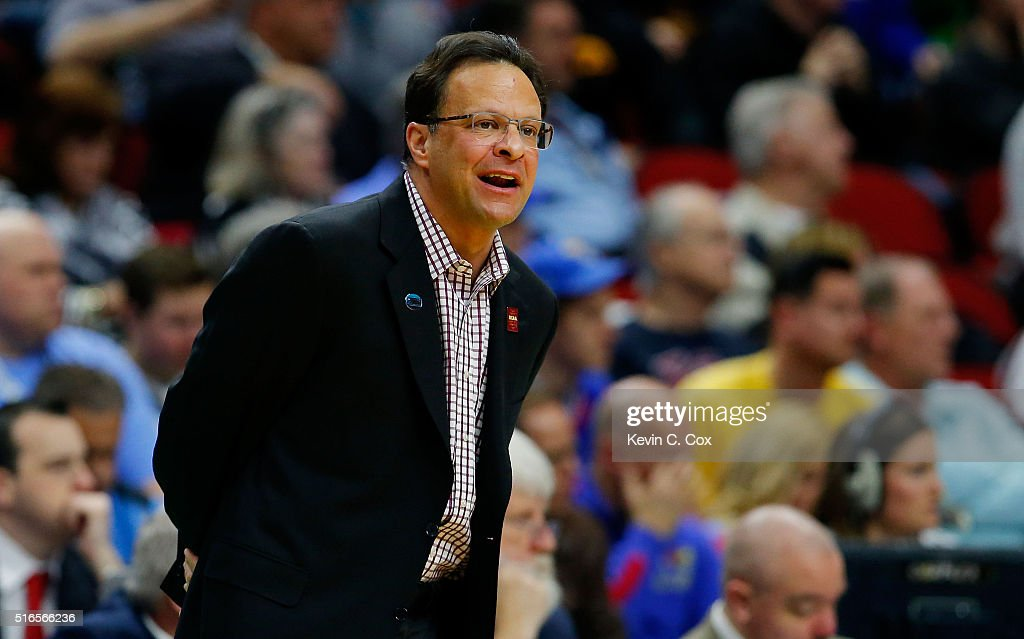 Head coach <a gi-track='captionPersonalityLinkClicked' href=/galleries/search?phrase=Tom+Crean+-+Basketball+Coach&family=editorial&specificpeople=10060688 ng-click='$event.stopPropagation()'>Tom Crean</a> of the Indiana Hoosiers reacts in the second half against the Kentucky Wildcats during the second round of the 2016 NCAA Men's Basketball Tournament at Wells Fargo Arena on March 19, 2016 in Des Moines, Iowa.