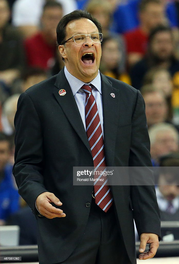 Head coach <a gi-track='captionPersonalityLinkClicked' href=/galleries/search?phrase=Tom+Crean+-+Basketball+Coach&family=editorial&specificpeople=10060688 ng-click='$event.stopPropagation()'>Tom Crean</a> of the Indiana Hoosiers reacts on the sideline against the Wichita State Shockers during the second round of the 2015 NCAA Men's Basketball Tournament at the CenturyLink Center on March 20, 2015 in Omaha, Nebraska.