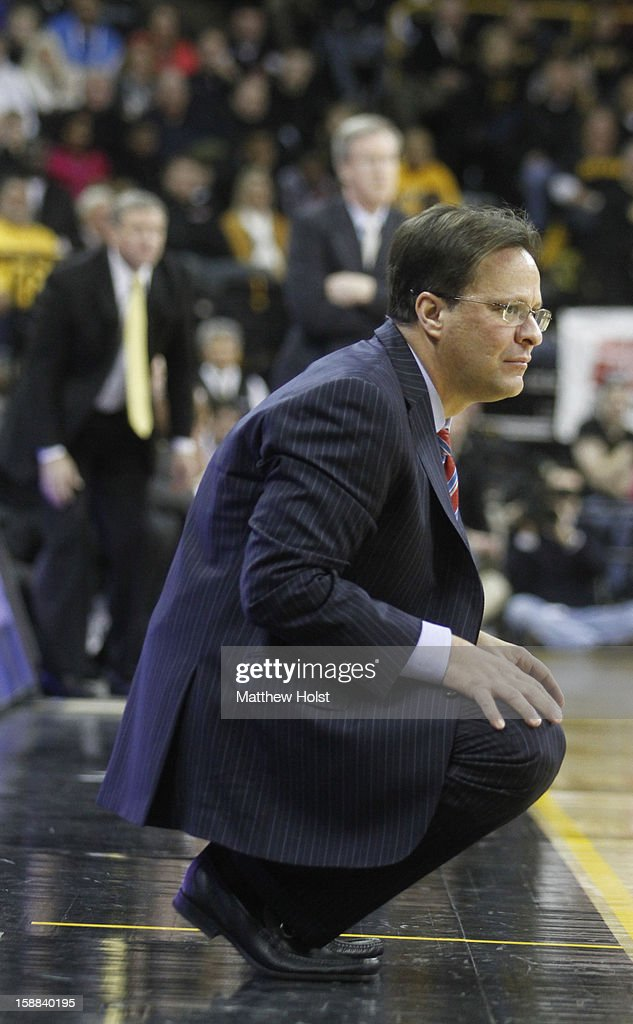 Head coach Tom Crean of the Indiana Hoosiers watches the action during the second half against the Iowa Hawkeyes on December 31, 2012 at Carver-Hawkeye Arena in Iowa City, Iowa. Indiana won 69-65.