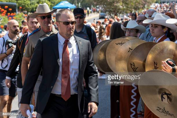 Head coach Tom Herman of the Texas Longhorns enters the stadium prior to the game against the San Jose State Spartans at Darrell K RoyalTexas...