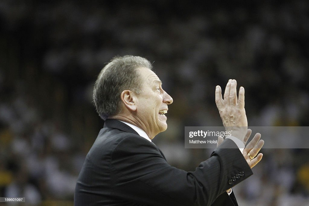 Head coach <a gi-track='captionPersonalityLinkClicked' href=/galleries/search?phrase=Tom+Izzo&family=editorial&specificpeople=238861 ng-click='$event.stopPropagation()'>Tom Izzo</a> of the Michigan State Spartans coaches during the second half against the Iowa Hawkeyes on January 10, 2013 at Carver-Hawkeye Arena in Iowa City, Iowa. Michigan State won 62-59.