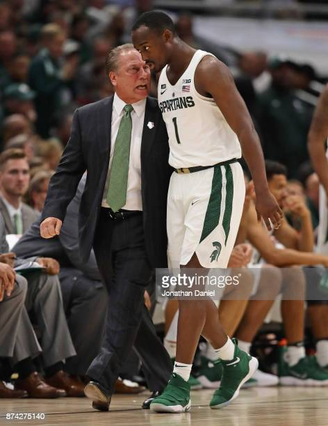 Head coach Tom Izzo of the Michigan State Spartans gets in the ear of Joshua Langford against the Duke Blue Devils during the State Farm Champions...