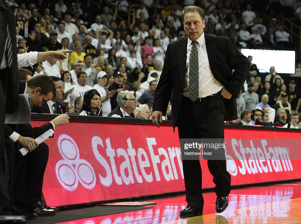 Head coach Tom Izzo of the Michigan State Spartans paces on the side of the court during the second half against the Iowa Hawkeyes on January 10, 2013 at Carver-Hawkeye Arena in Iowa City, Iowa. Michigan State won 62-59.