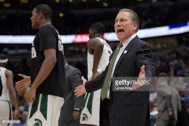 Head coach Tom Izzo of the Michigan State Spartans reacts during their game against the Duke Blue Devils during the Champions Classic at United...