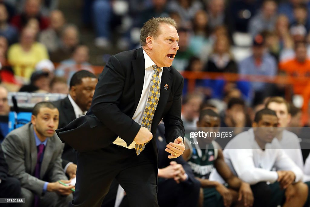 Head coach <a gi-track='captionPersonalityLinkClicked' href=/galleries/search?phrase=Tom+Izzo&family=editorial&specificpeople=238861 ng-click='$event.stopPropagation()'>Tom Izzo</a> of the Michigan State Spartans reacts in the first half of the game against the Oklahoma Sooners during the East Regional Semifinal of the 2015 NCAA Men's Basketball Tournament at the Carrier Dome on March 27, 2015 in Syracuse, New York.