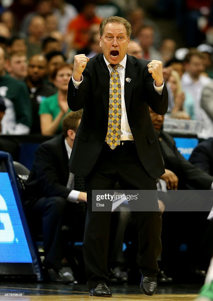 Head coach <a gi-track='captionPersonalityLinkClicked' href=/galleries/search?phrase=Tom+Izzo&family=editorial&specificpeople=238861 ng-click='$event.stopPropagation()'>Tom Izzo</a> of the Michigan State Spartans reacts in the second half of the game against the Oklahoma Sooners during the East Regional Semifinal of the 2015 NCAA Men's Basketball Tournament at the Carrier Dome on March 27, 2015 in Syracuse, New York.