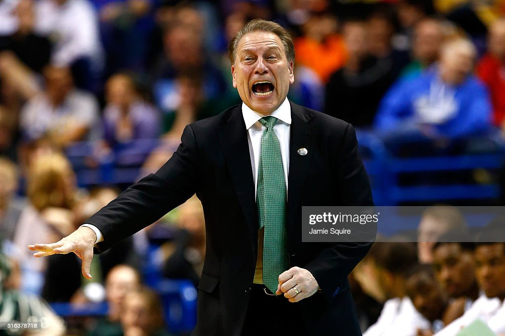 Head coach <a gi-track='captionPersonalityLinkClicked' href=/galleries/search?phrase=Tom+Izzo&family=editorial&specificpeople=238861 ng-click='$event.stopPropagation()'>Tom Izzo</a> of the Michigan State Spartans reacts in the second half against the Middle Tennessee Blue Raiders during the first round of the 2016 NCAA Men's Basketball Tournament at Scottrade Center on March 18, 2016 in St Louis, Missouri.