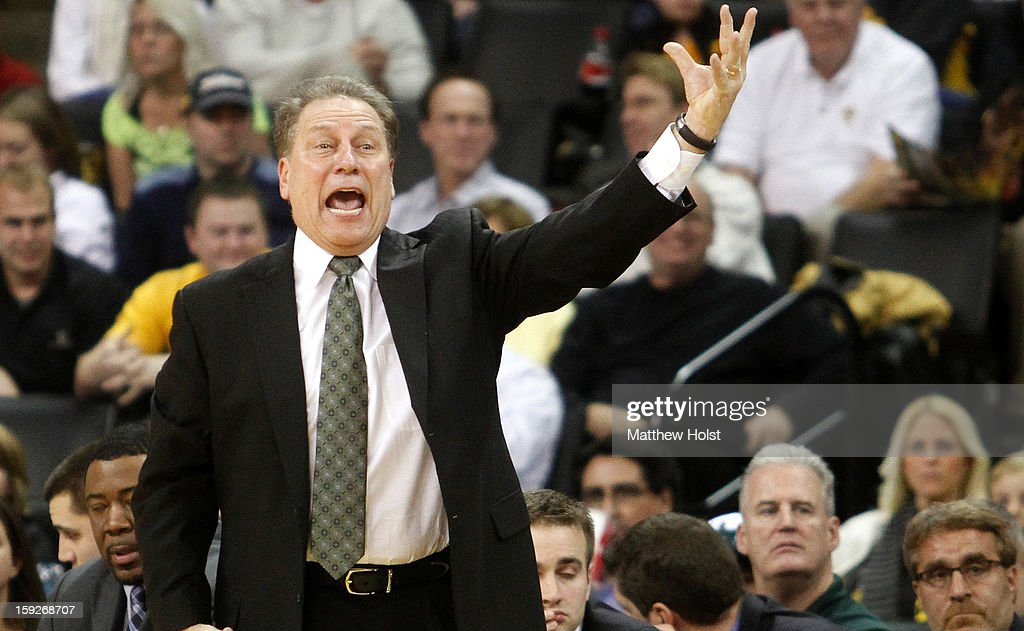 Head coach <a gi-track='captionPersonalityLinkClicked' href=/galleries/search?phrase=Tom+Izzo&family=editorial&specificpeople=238861 ng-click='$event.stopPropagation()'>Tom Izzo</a> of the Michigan State Spartans reacts to a call during the second half against the Iowa Hawkeyes on January 10, 2013 at Carver-Hawkeye Arena in Iowa City, Iowa. Michigan State won 62-59.