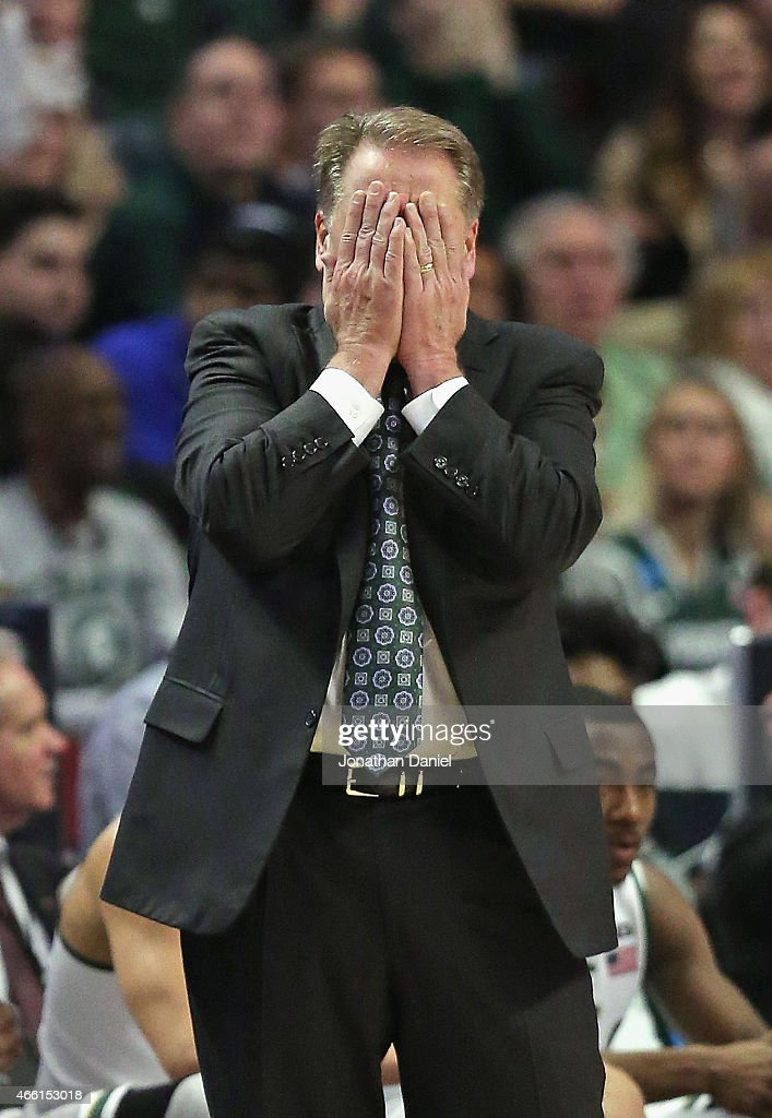 Head coach <a gi-track='captionPersonalityLinkClicked' href=/galleries/search?phrase=Tom+Izzo&family=editorial&specificpeople=238861 ng-click='$event.stopPropagation()'>Tom Izzo</a> of the Michigan State Spartans reacts to a referees call as his team takes on the Ohio State Buckeyes during the quarterfinal round of the 2015 Big Ten Men's Basketball Tournament at the United Center on March 13, 2015 in Chicago, Illinois.