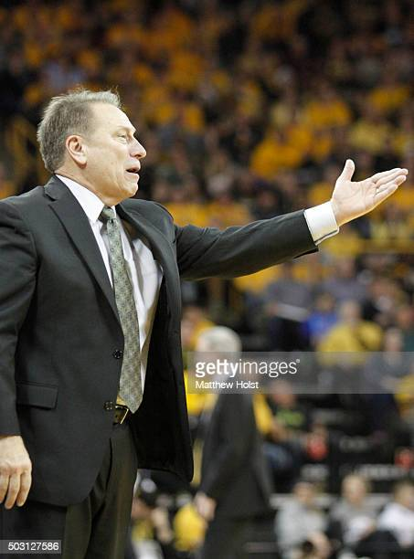 Head coach Tom Izzo of the Michigan State Spartans reacts to a call in the second half against the Iowa Hawkeyes on December 29 2015 at CarverHawkeye...