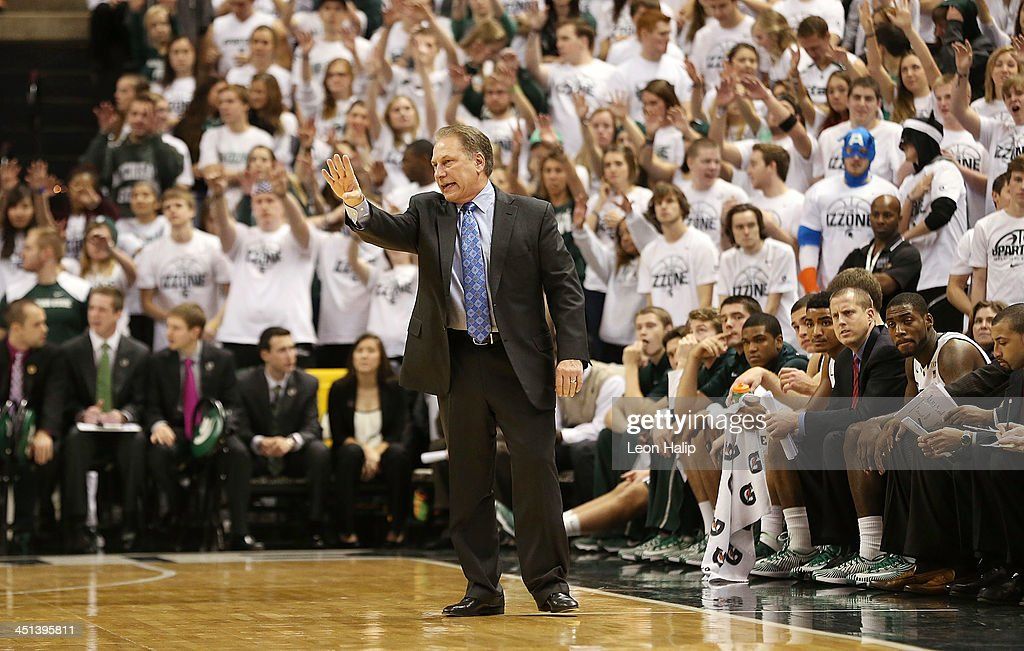 Head coach Tom Izzo of the Michigan State Spartans shouts out instructions during the game against the Columbia Lions at the Breslin Center on November 15, 2013 in East Lansing, Michigan. Michigan State defeated Columbia 62-53.