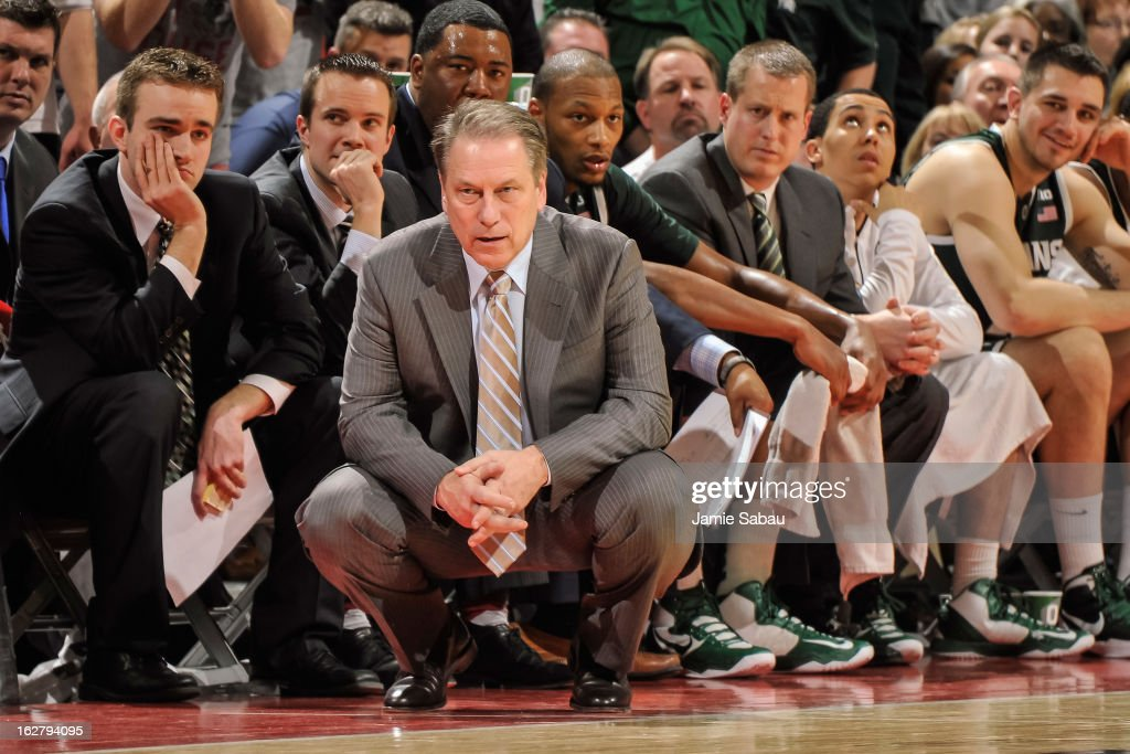 Head Coach Tom Izzo of the Michigan State Spartans watches his team against the Ohio State Buckeyes on February 24, 2013 at Value City Arena in Columbus, Ohio.