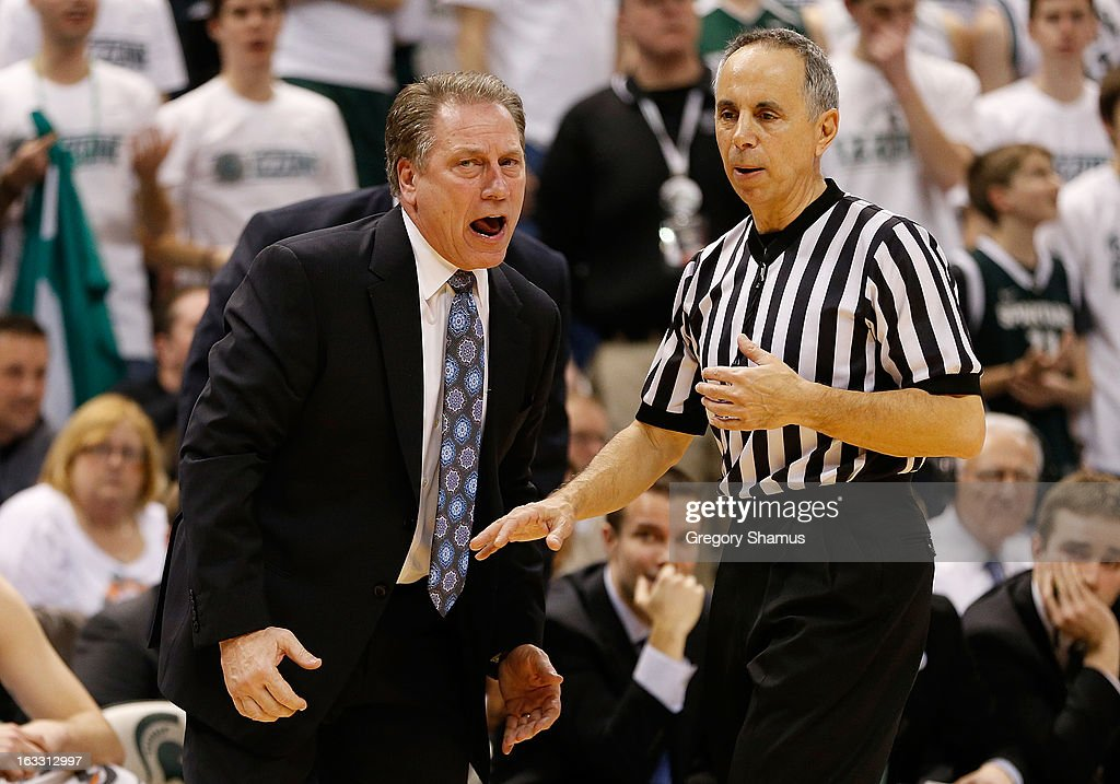 Head coach <a gi-track='captionPersonalityLinkClicked' href=/galleries/search?phrase=Tom+Izzo&family=editorial&specificpeople=238861 ng-click='$event.stopPropagation()'>Tom Izzo</a> of the Michigan State Spartans yells at a ref while playing the Wisconsin Badgers at the Jack T. Breslin Student Events Center on March 7, 2013 in East Lansing, Michigan. Michigan State won the game 58-43.