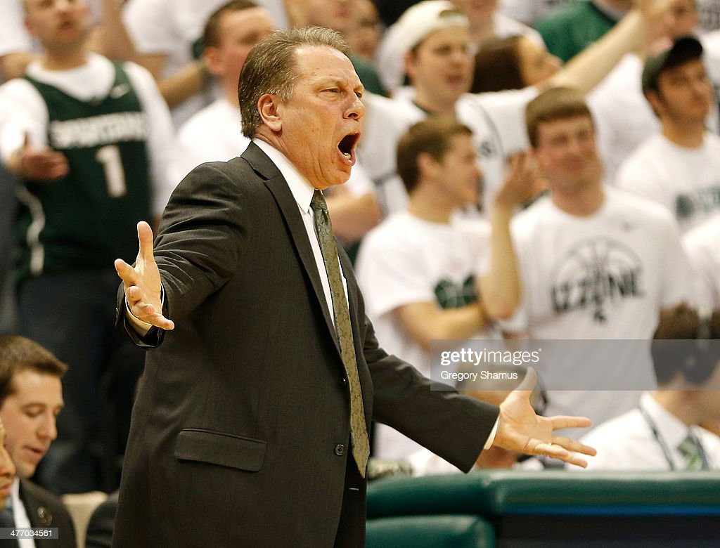 Head coach <a gi-track='captionPersonalityLinkClicked' href=/galleries/search?phrase=Tom+Izzo&family=editorial&specificpeople=238861 ng-click='$event.stopPropagation()'>Tom Izzo</a> reacts during the first half while playing the Iowa Hawkeyes at the Jack T. Breslin Student Events Center on February 6, 2014 in East Lansing, Michigan.