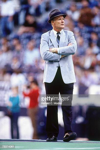 Head Coach Tom Landry of the Dallas Cowboy on the sidelines during a game against the Washington Redskins on December 11 l983 in Irving Texas