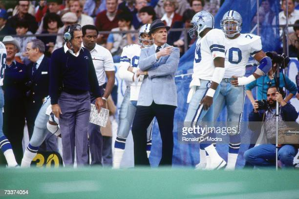 Head Coach Tom Landry of the Dallas Cowboys during a game against the Washington Redskins on December 11 l983 in Irving Texas