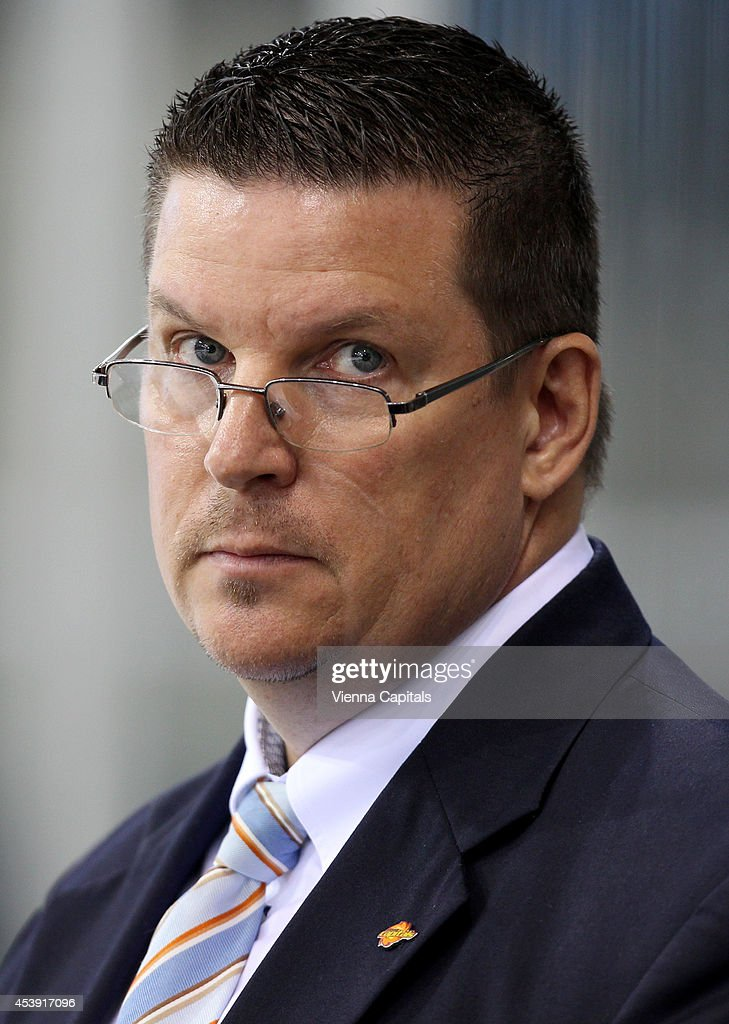 Head coach Tom Pokel (Capitals) looks on during the Champions Hockey League group stage game between Vienna Capitals and Faerjestad Karlstad on August 21, 2014 in Vienna, Austria.