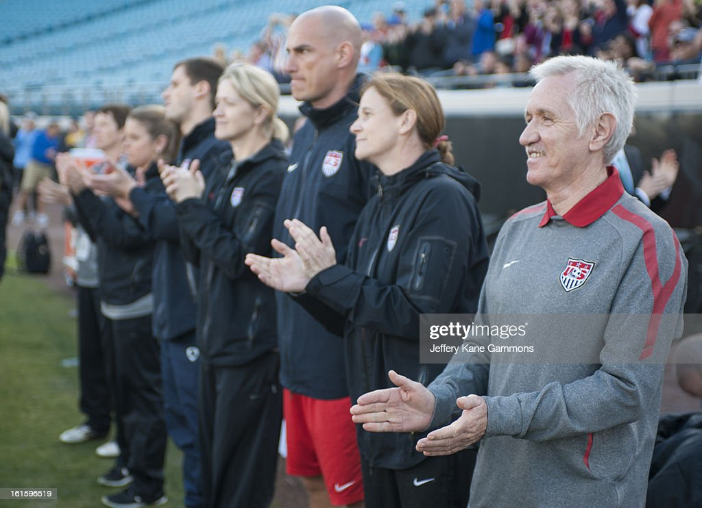 Head coach Tom Sermannni of the United States watches his team before the game against Scotland game at EverBank Field on February 9, 2013 in Jacksonville, Florida.