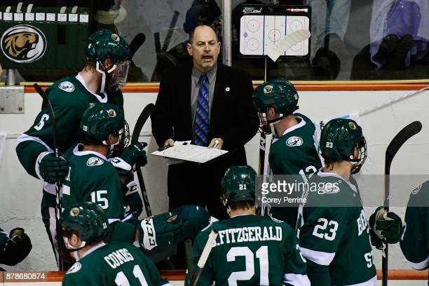 Head coach Tom Serratore of the Bemidji State Beavers coaches during the second period against the Princeton Tigers at Hobey Baker Rink on November...