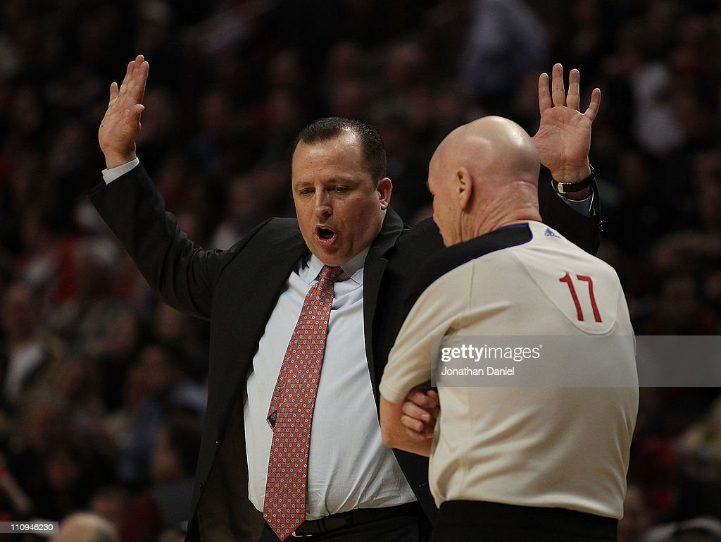 Head coach Tom Thibodeau of the Chicago Bulls aruges a play called by referee Joey Crawford #17 during a game against the Memphis Grizzlies at the United Center on March 25, 2011 in Chicago, Illinois. The Bulls defeated the Grizzlies 99-96.