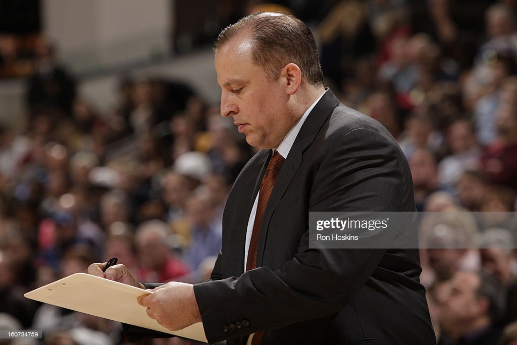 Head Coach Tom Thibodeau of the Chicago Bulls checks the game plan during the game between the Indiana Pacers and the Chicago Bulls on February 4, 2013 at Bankers Life Fieldhouse in Indianapolis, Indiana.