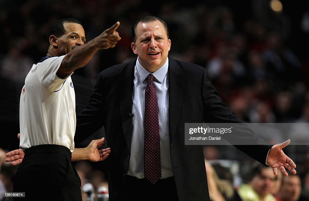 Head coach Tom Thibodeau of the Chicago Bulls complains to referee Eric Lewis during a game against the Boston Celtics at the United Center on...
