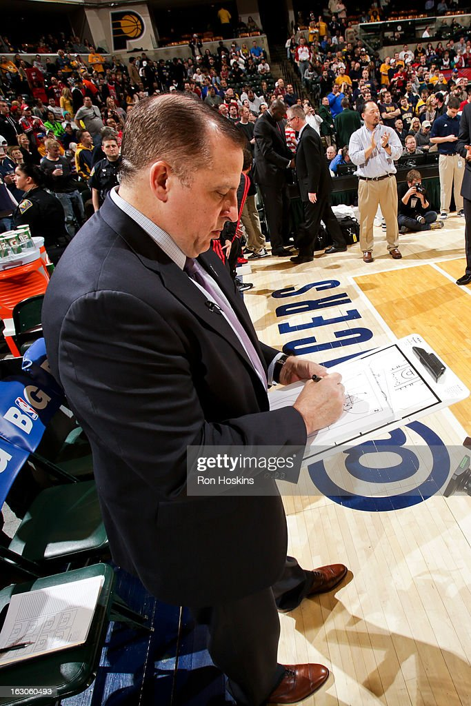 Head Coach <a gi-track='captionPersonalityLinkClicked' href=/galleries/search?phrase=Tom+Thibodeau&family=editorial&specificpeople=2162261 ng-click='$event.stopPropagation()'>Tom Thibodeau</a> of the Chicago Bulls draws up plays for his team before a game against the Indiana Pacers on March 3, 2013 at Bankers Life Fieldhouse in Indianapolis, Indiana.