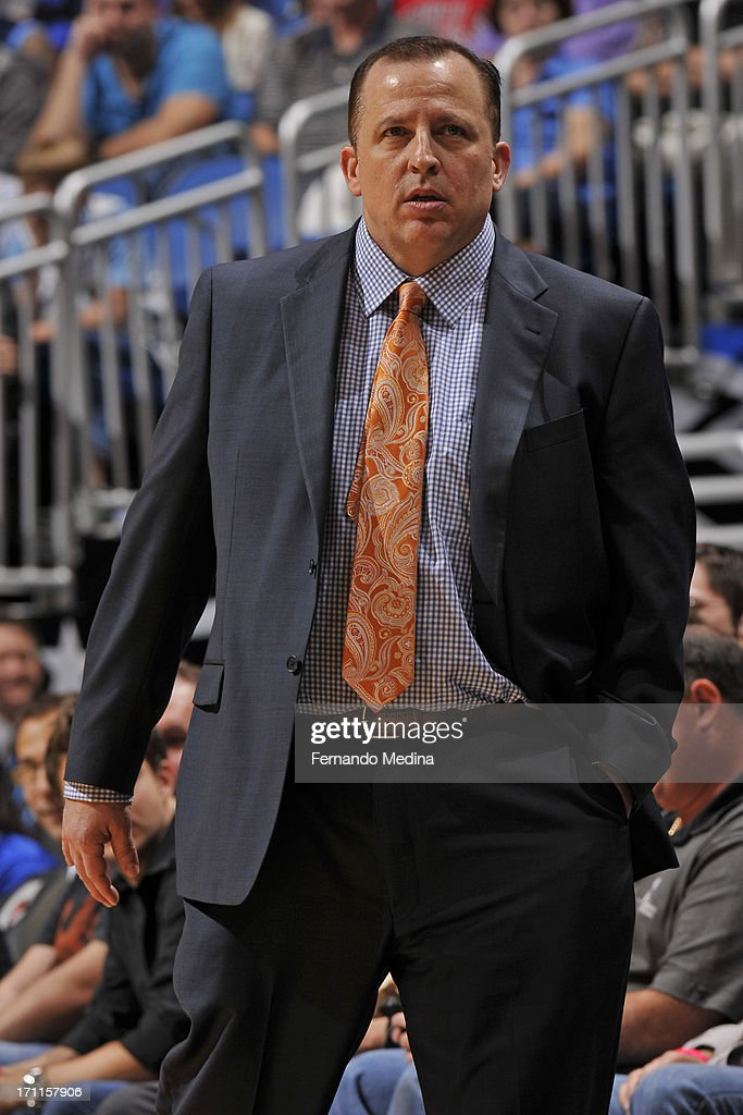 Head Coach <a gi-track='captionPersonalityLinkClicked' href=/galleries/search?phrase=Tom+Thibodeau&family=editorial&specificpeople=2162261 ng-click='$event.stopPropagation()'>Tom Thibodeau</a> of the Chicago Bulls looks on against the Orlando Magic during the game on January 2, 2013 at Amway Center in Orlando, Florida.