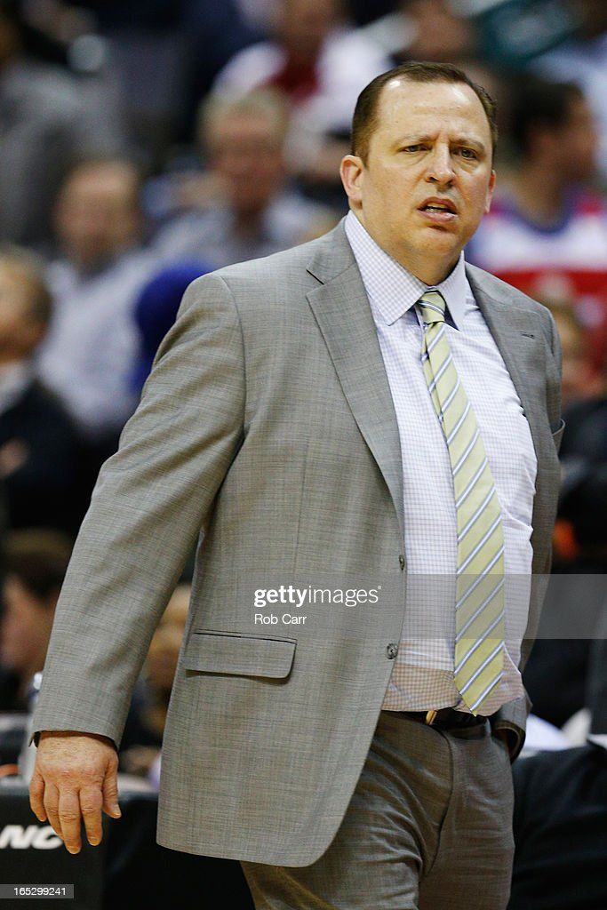 Head coach <a gi-track='captionPersonalityLinkClicked' href=/galleries/search?phrase=Tom+Thibodeau&family=editorial&specificpeople=2162261 ng-click='$event.stopPropagation()'>Tom Thibodeau</a> of the Chicago Bulls reacts after being called for a technical foul during the second half against the Washington Wizards at Verizon Center on April 2, 2013 in Washington, DC.