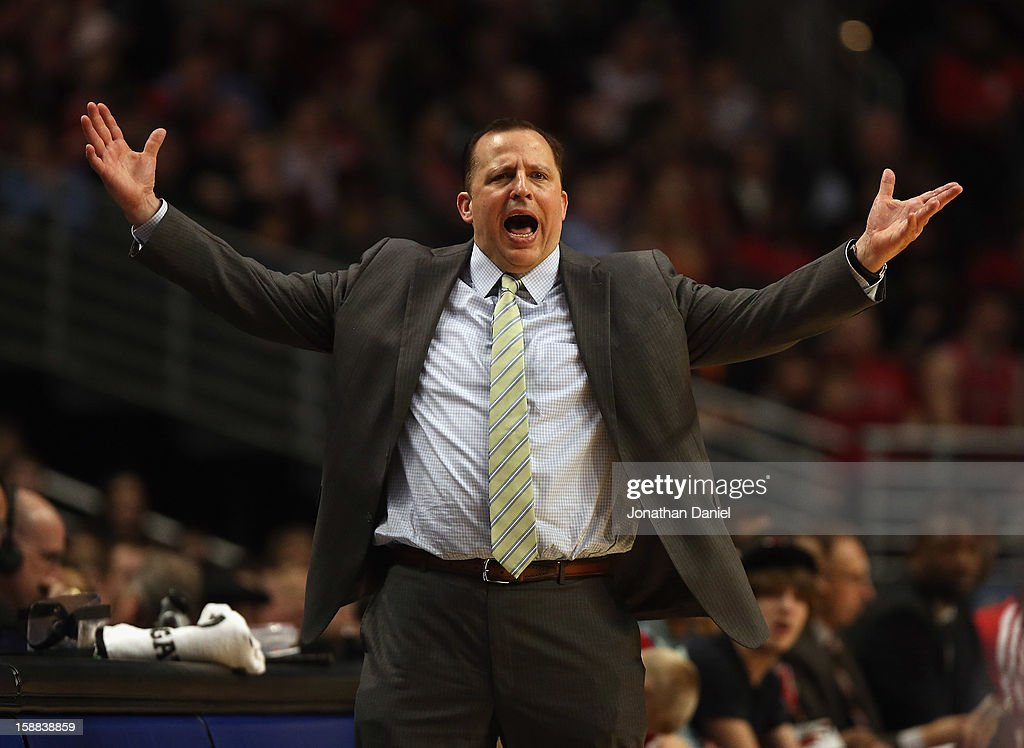 Head coach Tom Thibodeau of the Chicago Bulls reacts to a call during a game against the Charlotte Bobcats at the United Center on December 31, 2012 in Chicago, Illinois. The Bobcats defeated the Bulls 91-81.